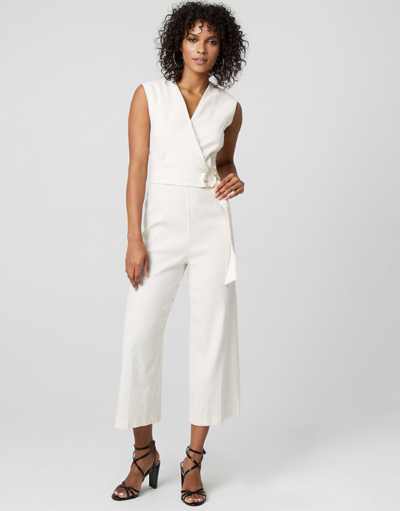Stripe Linen Blend Culotte Jumpsuit